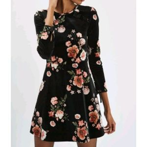 Topshop floral velvet dress